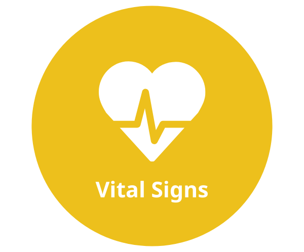 A yellow circle containing a white heart icon with a heart beat line and white text that reads Vital Signs below
